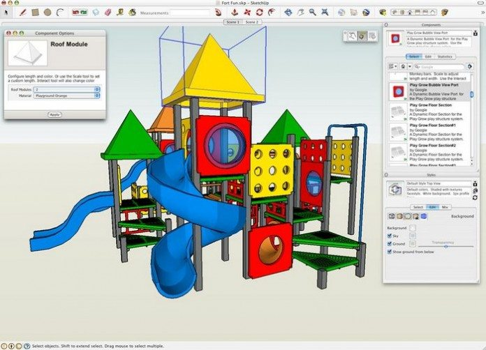 Google Sketchup allows for very sophisticated output