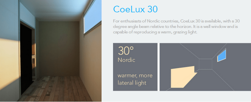 The Coelux 30 imitates the sun and sky at higher latitudes...