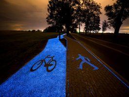 Poland's glow in the dark bicycle lane