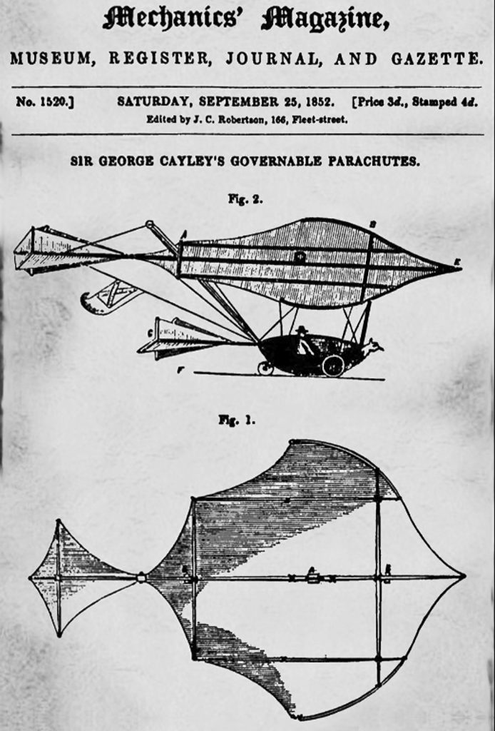 "George Cayley's ""Governable Parachute"" was the first true glider."