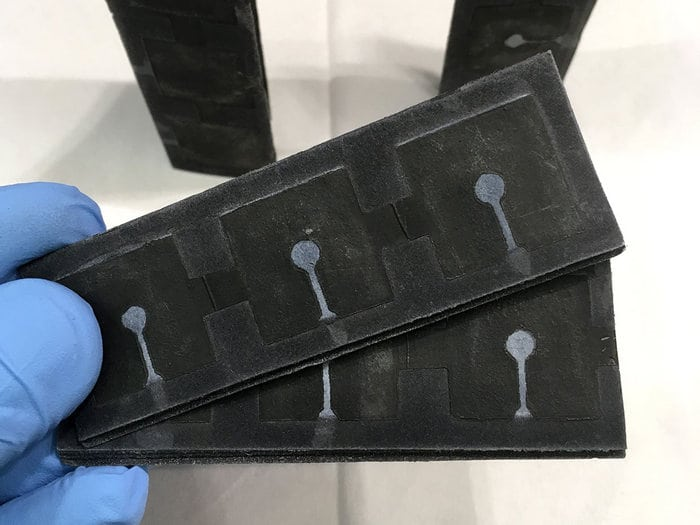 100% biodegradeable batteries made from paper and bacteria. Photo: Seokheun Choi