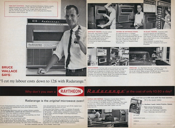 The first microwave oven, built by Massachusetts-based defense contractor Raytheon in 1946, operated for three decades in the kitchen of one of the company's founders.