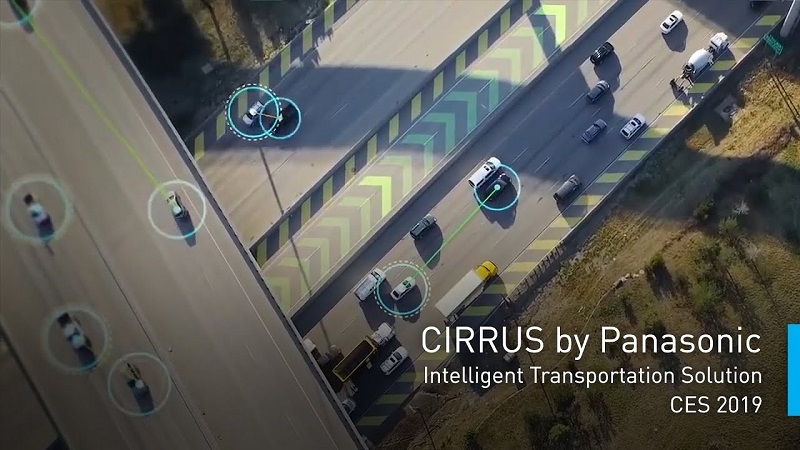 Panasonic's CIRRUS Vehicle-to-Everything (V2X) platform shares data between vehicles, roadways, and traffic managers in real-time. (Photo: Panasonic)