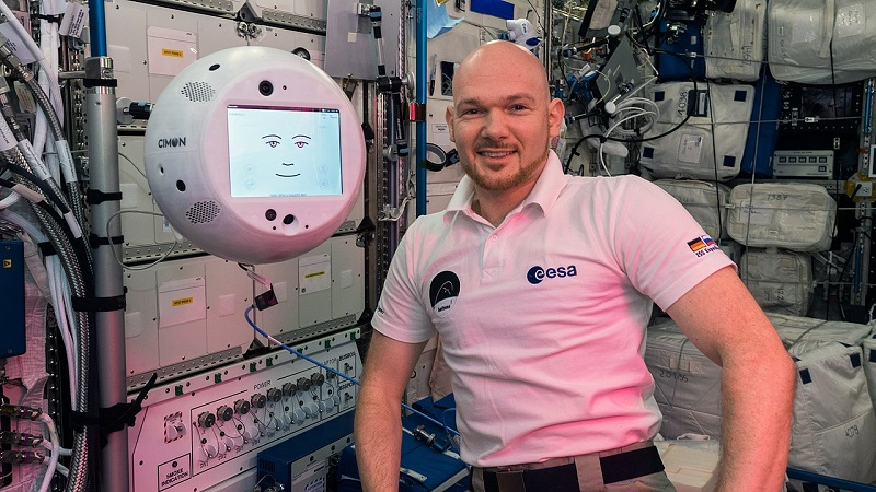 The original CIMON with astronaut Alexander Gerst.