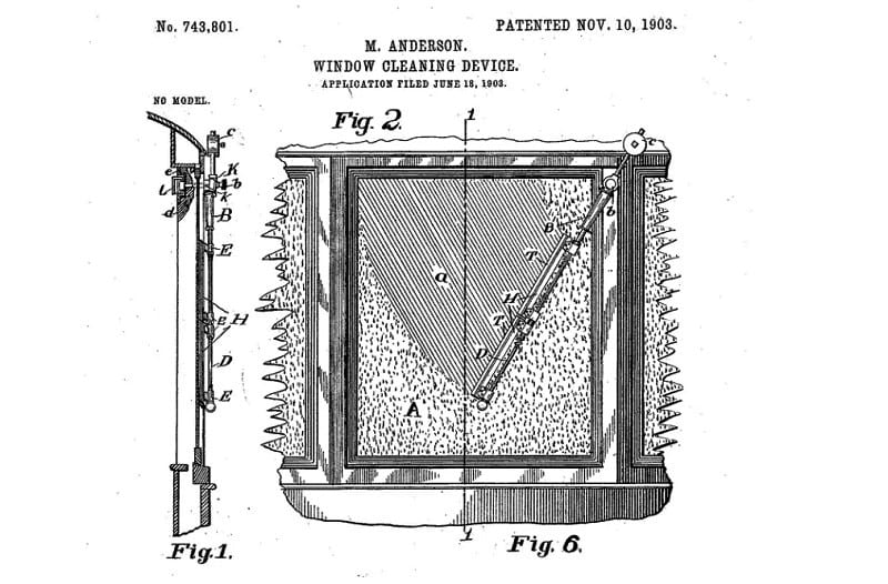 The U.S Patent Office granted Anderson's 'Window Cleaning Device' a patent in 1903.